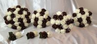 WEDDING PACKAGE-ARTIFICIAL FLOWERS FOAM ROSE BOUQUETS CHOCOLATE BROWN / IVORY